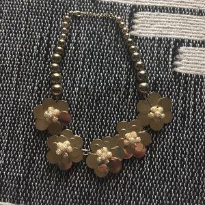 Anthropologie gold flower statement necklace